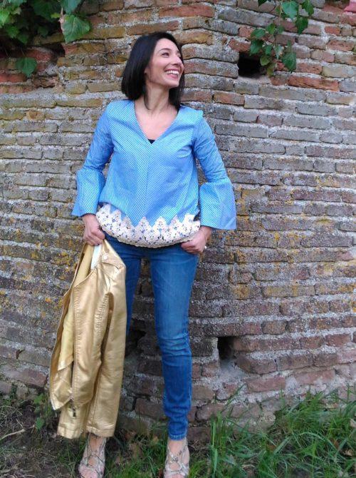 Camicia Kaos cotone righe con pizzo