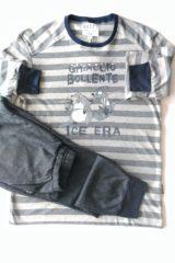 dettaglio pigiama uomo t-shirt righe
