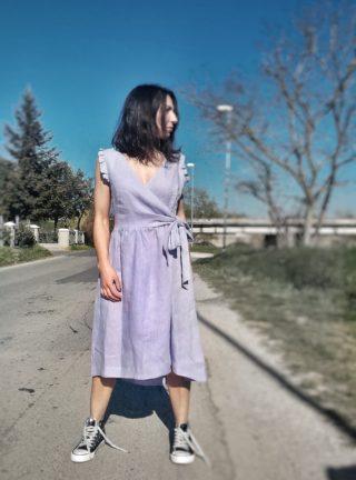 abito collezione kaos in lino con fiocco