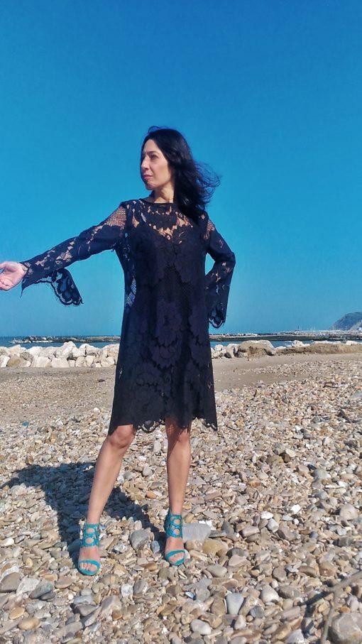 abito donna collezione kaos in pizzo nero