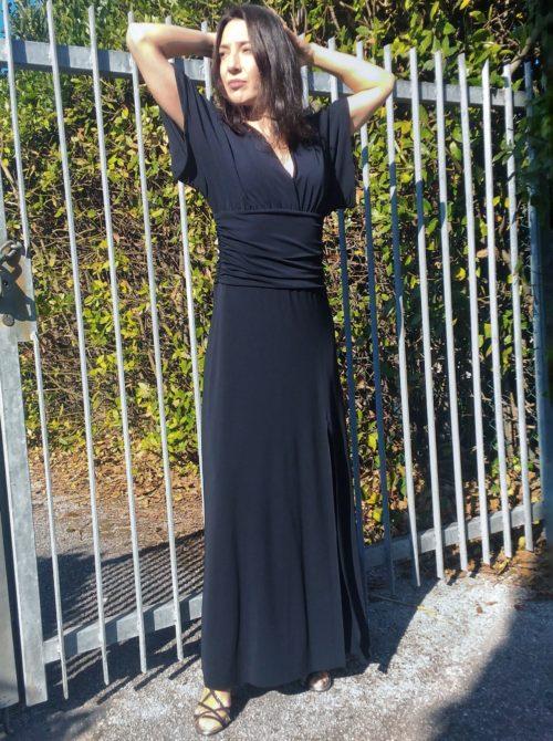 abito lungo nero kaos