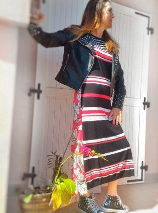 abito lungo righe e fantasia collezione kaos