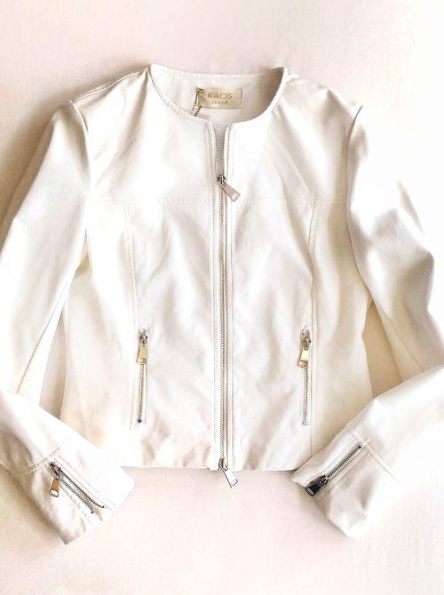 dettaglio giacchino ecopelle bianco kaos
