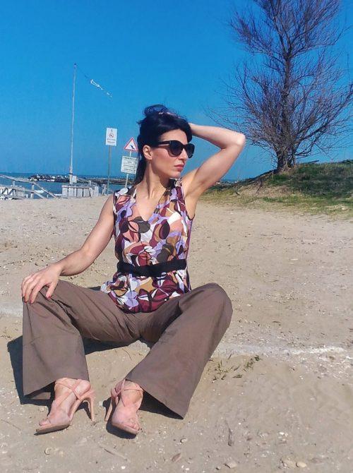 pantalone donna largo collezione kaos in cotone