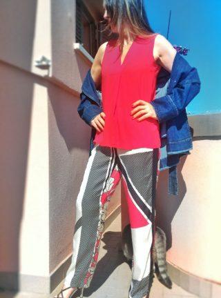 top donna collezione kaos rosso scollo V