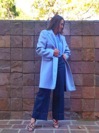 cappotto donna collezione Kaos azzurro polvere