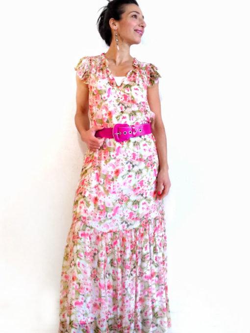 Abito donna Kaos lungo fantasia fiori rosa con cintura fuxia e balza finale