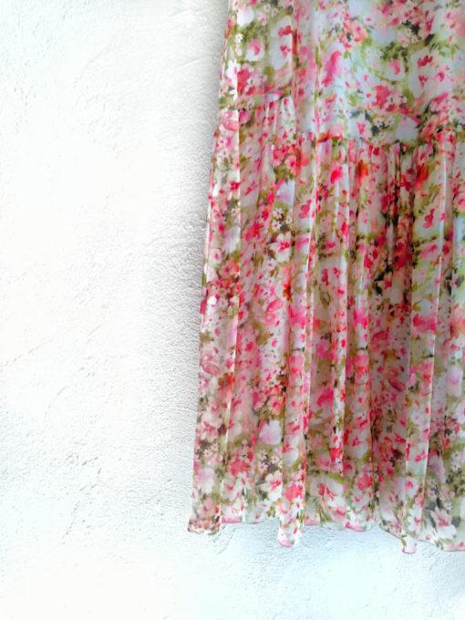 Abito donna Kaos lungo fantasia fiori rosa dettaglio fondo balza arricciata