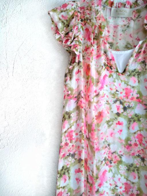 Abito donna Kaos lungo fantasia fiori rosa dettaglio manica corta e scollo a V