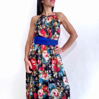 Abito donna Kaos lungo fantasia fiori spallina sottile con cintura bluette in vita