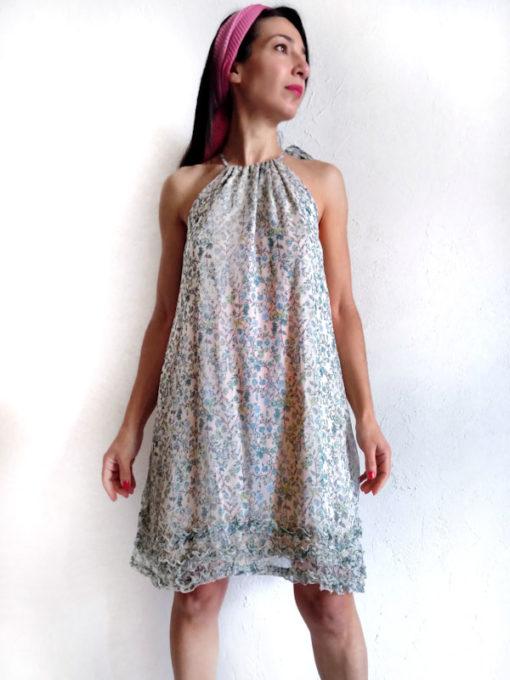 Abito donna Kaos nuova collezione in fantasia provenzale e scollo arricciato
