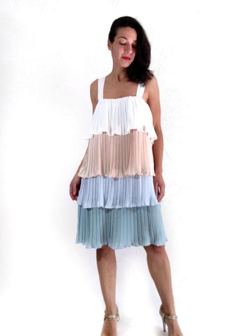 Abito donna Kaos spalla sottile plissè a balze colori pastello