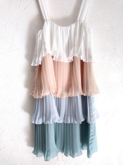 Abito donna Kaos spalla sottile plissè a balze colori pastello azzurro rosa bianco