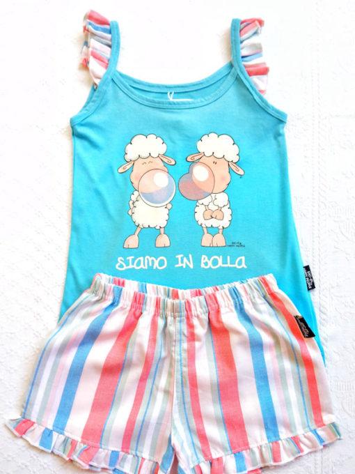 Dettaglio pigiama bimba corto Happy People serie siamo in bolla top turchese spallina sottile pantalone corto righe