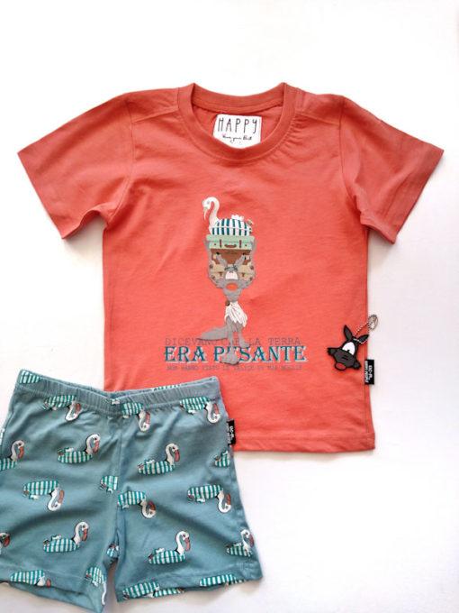 Dettaglio pigiama bimbo corto Happy People lupo alberto pantalone fantasia cigno