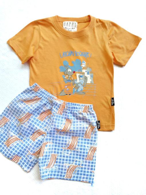 Dettaglio pigiama bimbo corto Happy People lupo alberto santorini pantalone corto fantasia sdraio