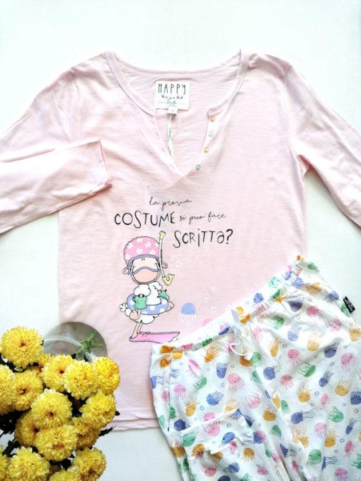 Dettaglio pigiama donna lungo Happy People serie prova costume scritta orale pantalone fantasia polipo