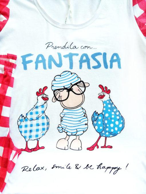 Dettaglio stampa pigiama serie fantasia nuova collezione Happy People relax smile and be happy