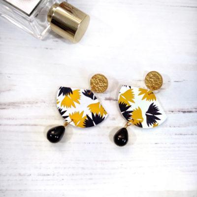 Orecchini in carta giapponese giallo-nero pendente nero