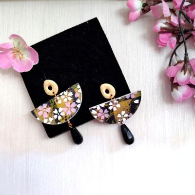 Orecchini in carta giapponese nero-rosa con pendente nero