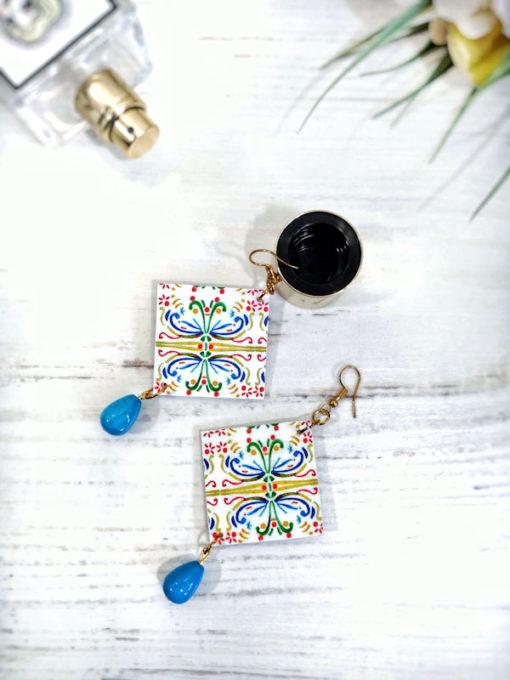 Orecchini in carta giapponese pendente turchese maiolica