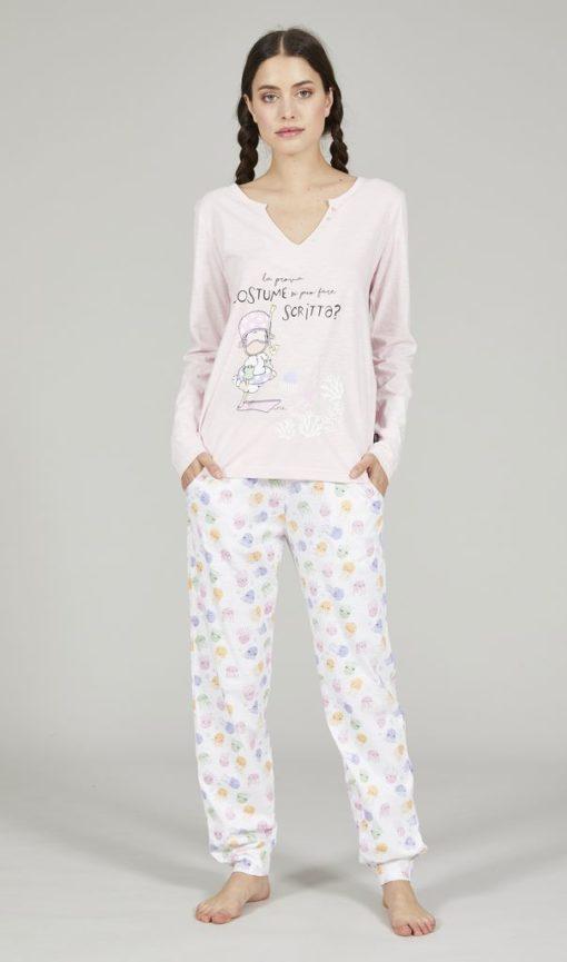 Pigiama donna lungo Happy People serie prova costume rosa e pantalone fantasia meduse