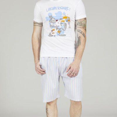 Pigiama uomo corto Happy People lupo alberto santorini t-shirt bianco