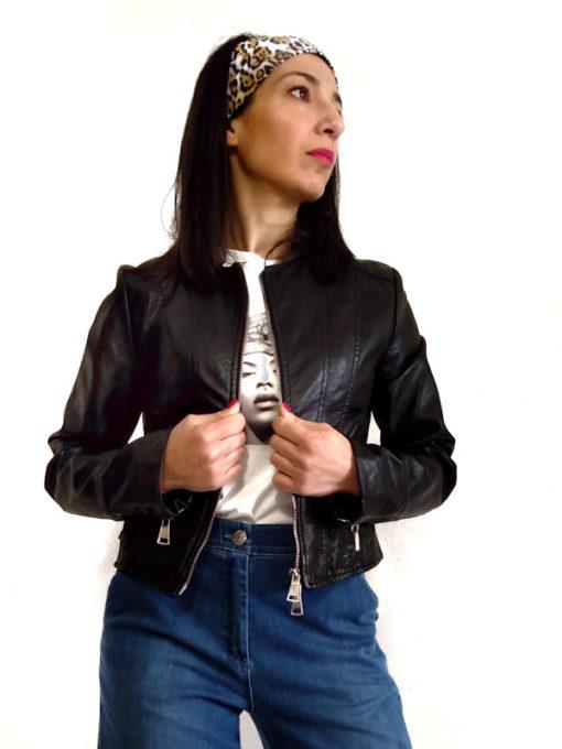 Giacchino donna collezione Kaos ecopelle nero zip