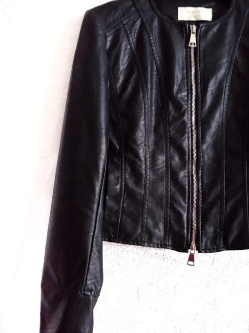 Giacchino donna collezione Kaos ecopelle nero zip girocollo dettaglio lunghezza