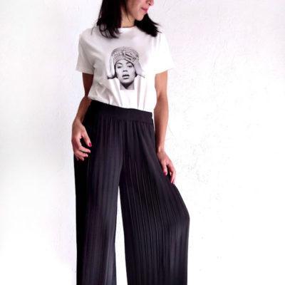 Pantalone donna Kaos nero largo plissè vita alta
