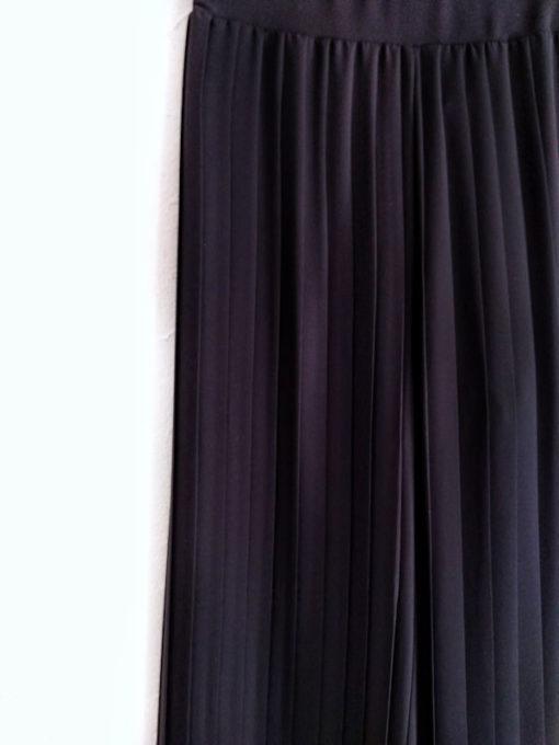 Pantalone donna Kaos nero largo plissè dettaglio tessuto e plissettatura