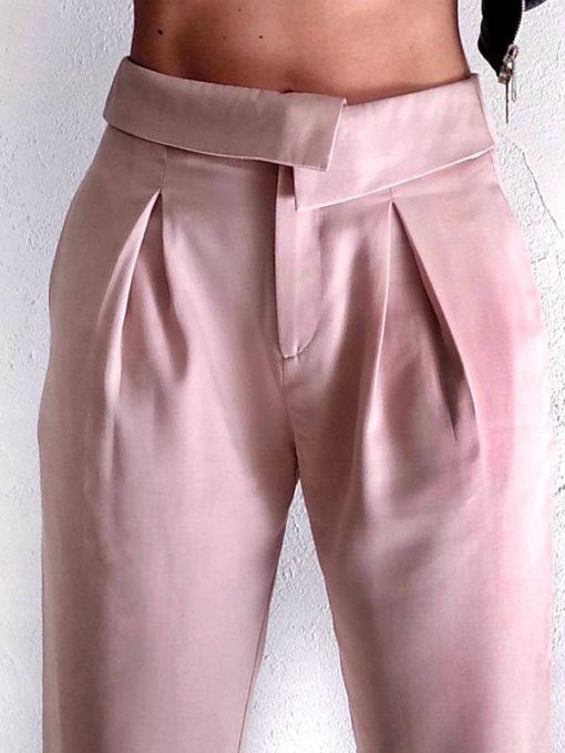Pantalone donna Kaos vita alta dettaglio pinces e bordo rigirato