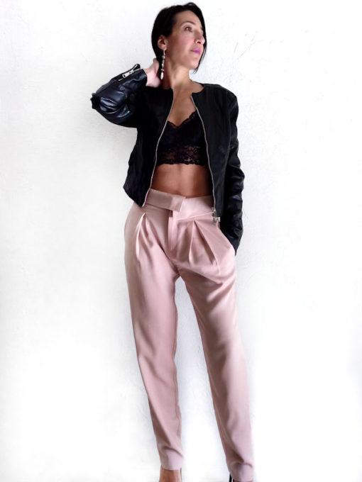 Pantalone donna Kaos vita alta tencel con pinces