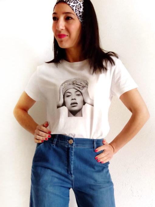 T-shirt donna Kaos cotone stampa Beyoncé su jeans blu mezza manica donna con fascia capelli