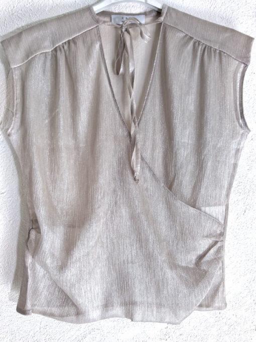 Top donna Kaos spalla larga incrocio trasparente colore ghiaccio girocollo con laccio