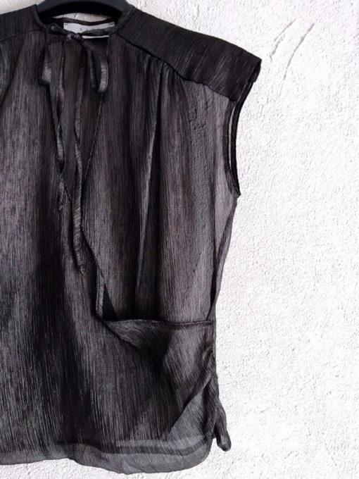 Top donna Kaos spalla larga incrocio trasparente dettaglio tessuto e scollo con laccio
