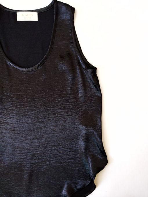 Top donna collezione Kaos colore cangiante dettaglio tessuto nero