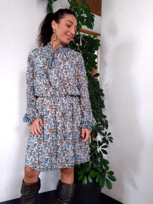 Abito donna corto collezione Kaos in fantasia colore azzurro