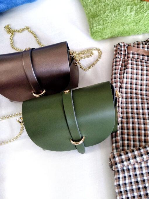 Borsa piccola in pelle liscia tracolla oro colore bronzo e verde