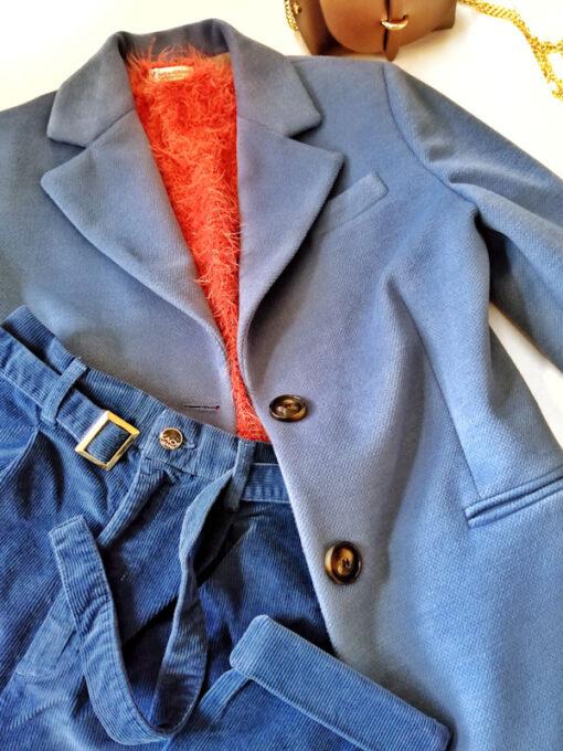 Cappotto donna azzurro collezione Kaos 2 bottoni outfit