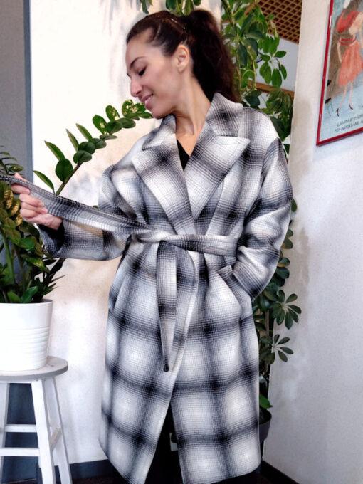 Cappotto donna lana con cintura Kaos