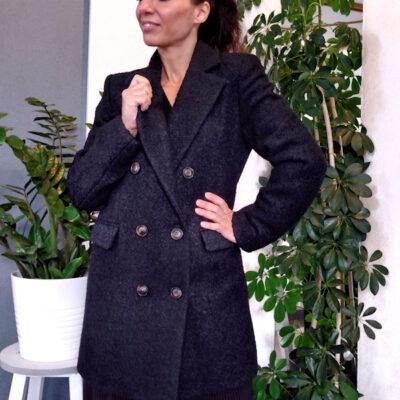 Cappotto donna nero bouclè collezione Kaos