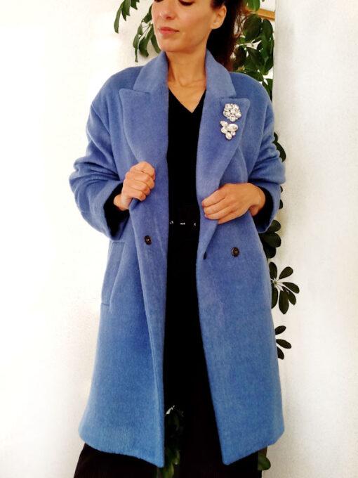 Cappotto teddy bear azzurro collezione Kaos doppiopetto