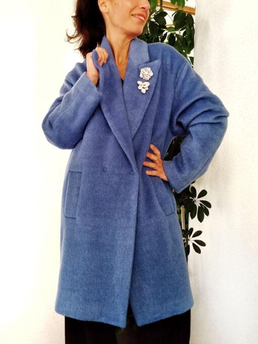 Cappotto teddy bear azzurro collezione Kaos doppiopetto dettaglio