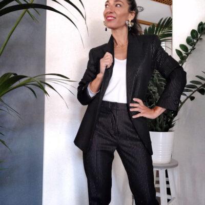 Giacca donna nero gessato collezione Kaos