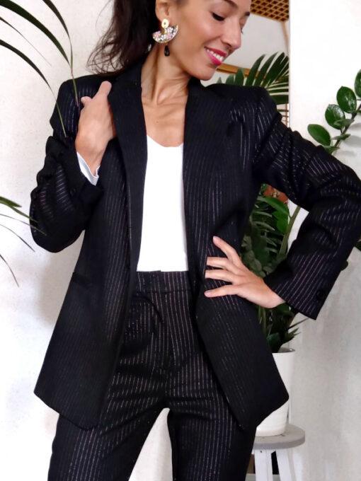 Giacca donna nero gessato collezione Kaos un bottone