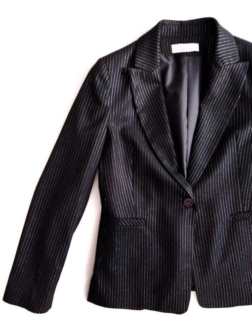Giacca donna nero gessato collezione Kaos un bottone riga lurex