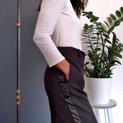 Pantalone donna Kaos nero con banda laterale