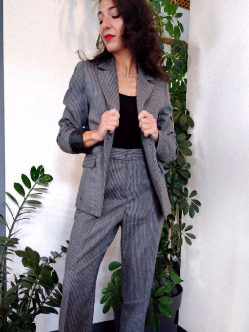 Pantalone donna grigio gessato collezione Kaos