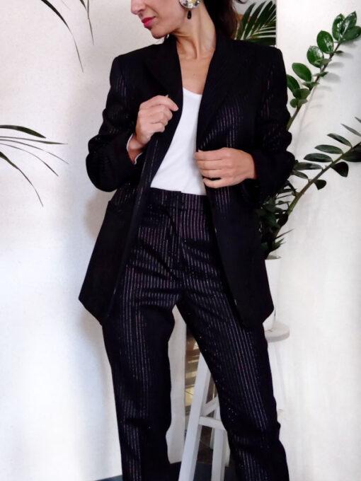Pantalone donna nero gessato collezione Kaos